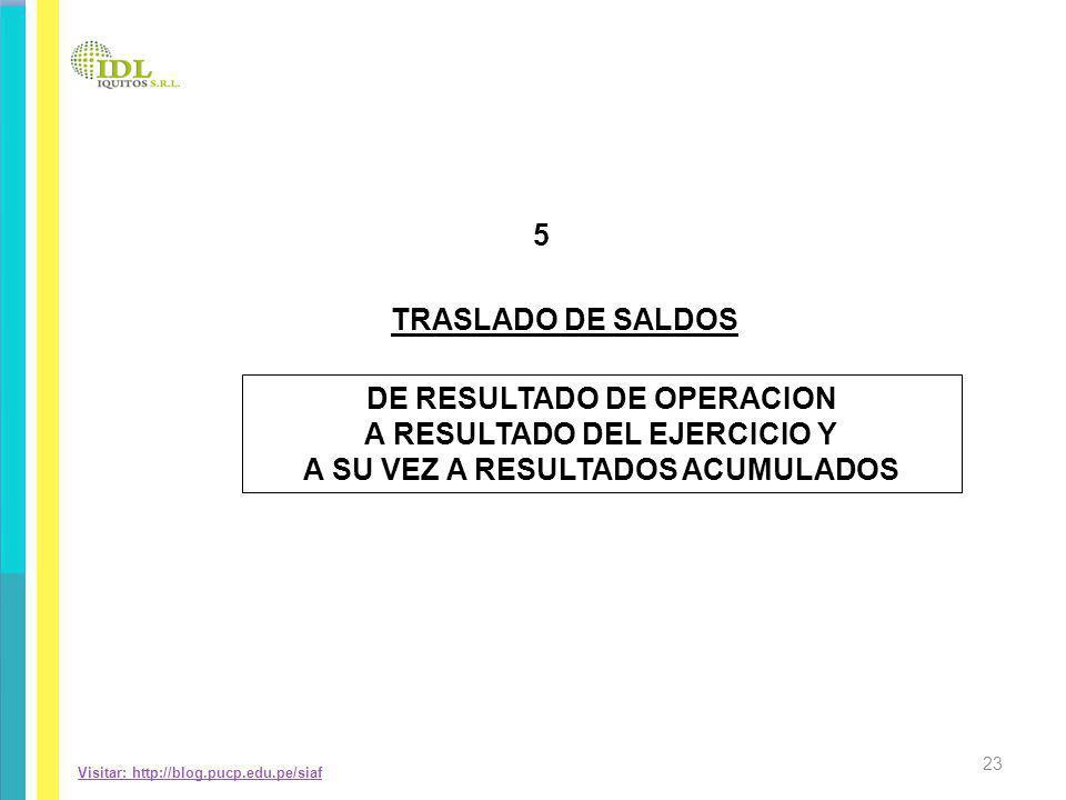Visitar: http://blog.pucp.edu.pe/siaf TRASLADO DE SALDOS 5 DE RESULTADO DE OPERACION A RESULTADO DEL EJERCICIO Y A SU VEZ A RESULTADOS ACUMULADOS 23