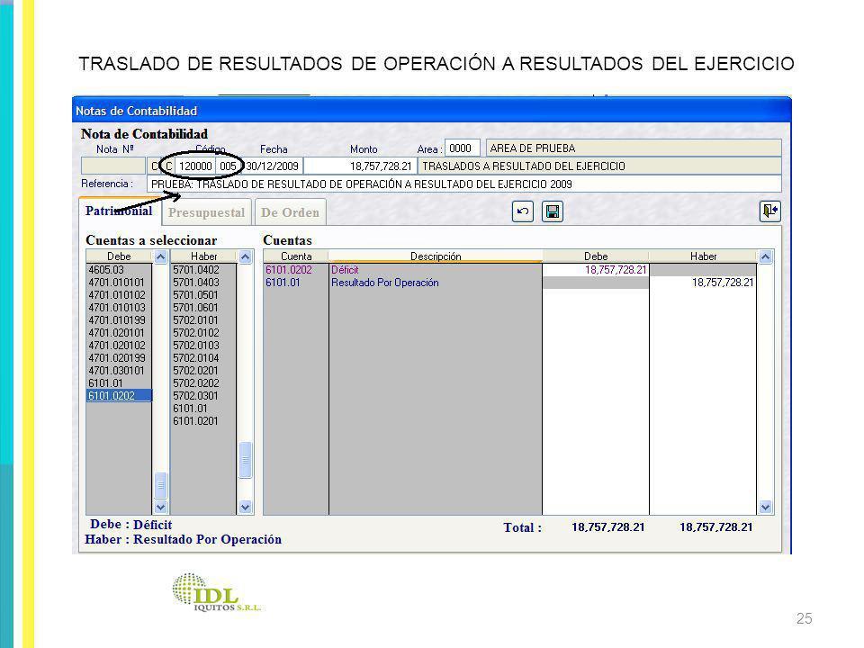 TRASLADO DE RESULTADOS DE OPERACIÓN A RESULTADOS DEL EJERCICIO 25