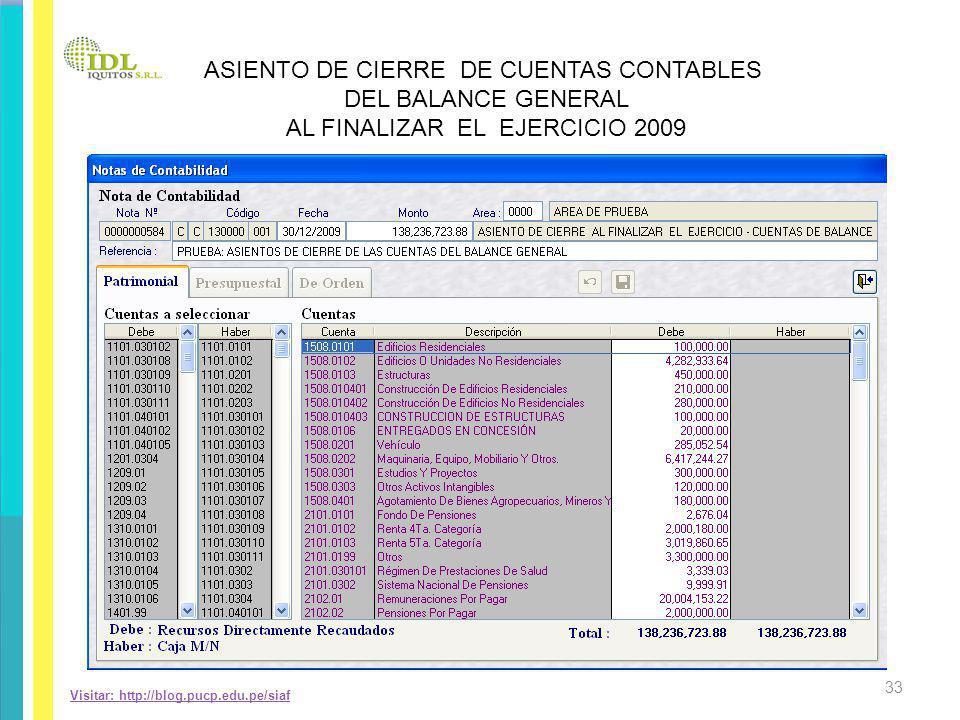 Visitar: http://blog.pucp.edu.pe/siaf ASIENTO DE CIERRE DE CUENTAS CONTABLES DEL BALANCE GENERAL AL FINALIZAR EL EJERCICIO 2009 33
