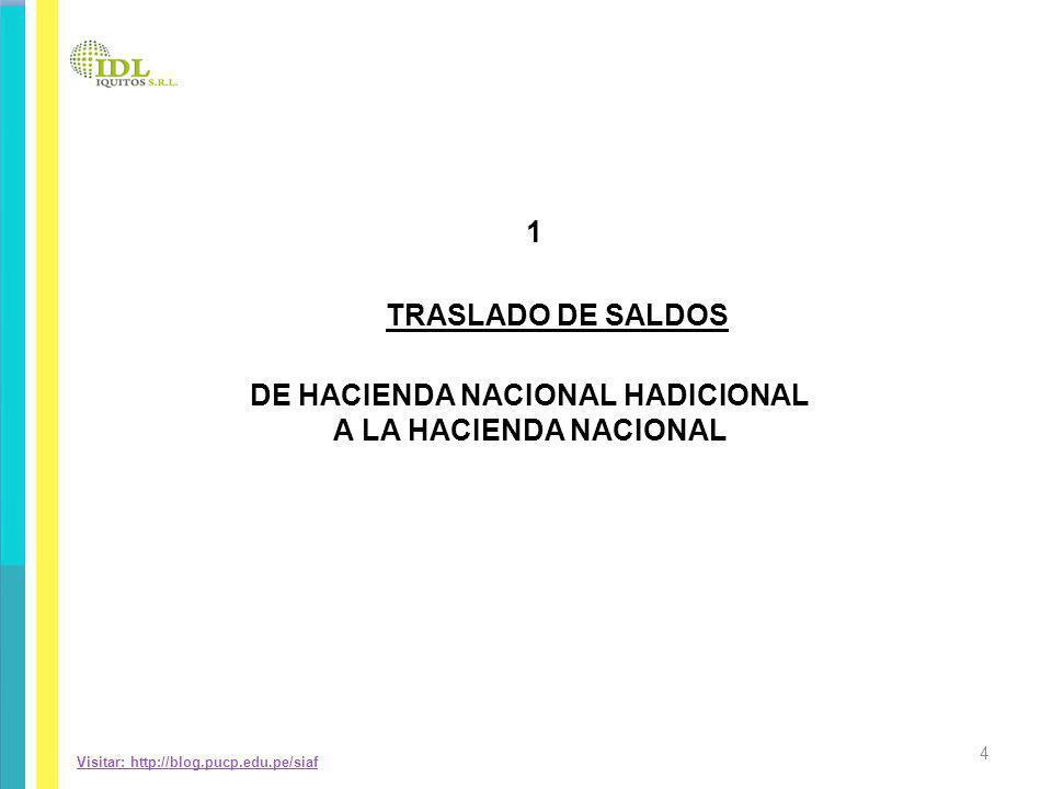 Visitar: http://blog.pucp.edu.pe/siaf DE HACIENDA NACIONAL HADICIONAL A LA HACIENDA NACIONAL 1 TRASLADO DE SALDOS 4