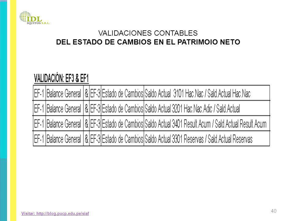 Visitar: http://blog.pucp.edu.pe/siaf VALIDACIONES CONTABLES DEL ESTADO DE CAMBIOS EN EL PATRIMOIO NETO 40
