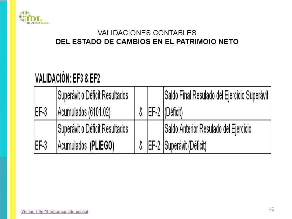 Visitar: http://blog.pucp.edu.pe/siaf VALIDACIONES CONTABLES DEL ESTADO DE CAMBIOS EN EL PATRIMOIO NETO 42