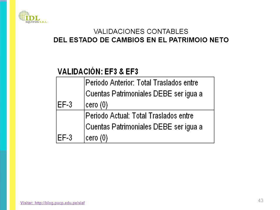 Visitar: http://blog.pucp.edu.pe/siaf VALIDACIONES CONTABLES DEL ESTADO DE CAMBIOS EN EL PATRIMOIO NETO 43