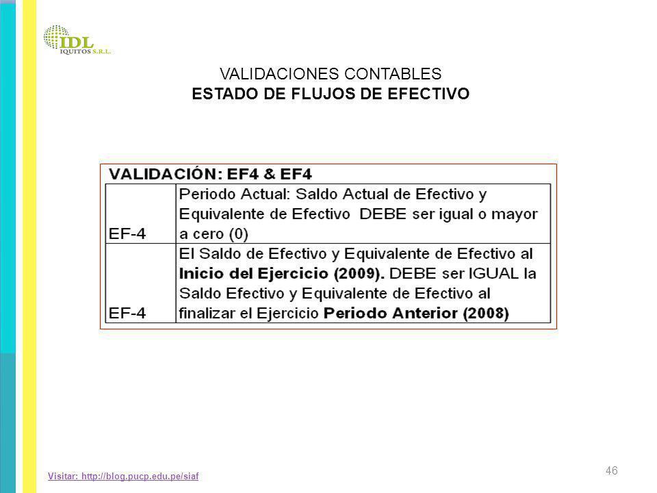 Visitar: http://blog.pucp.edu.pe/siaf VALIDACIONES CONTABLES ESTADO DE FLUJOS DE EFECTIVO 46