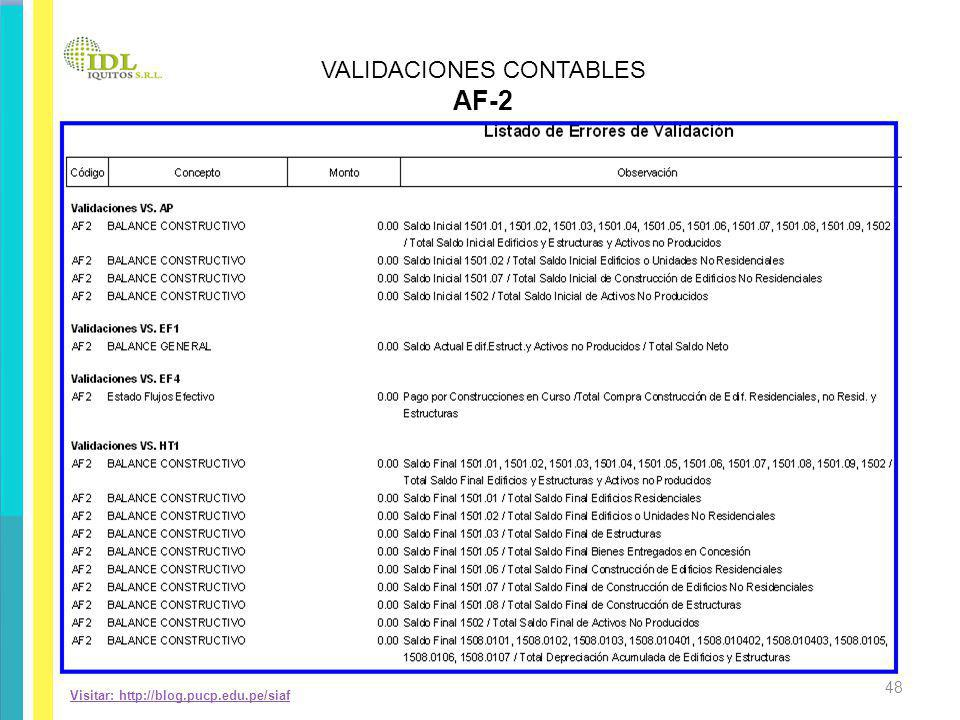 Visitar: http://blog.pucp.edu.pe/siaf VALIDACIONES CONTABLES AF-2 48