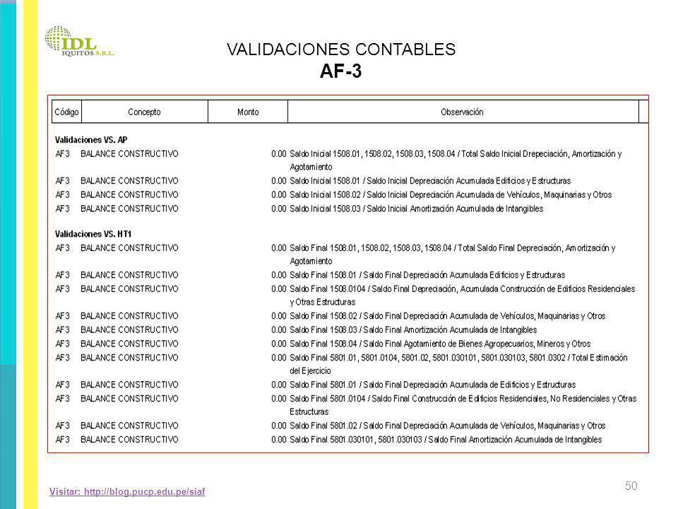 Visitar: http://blog.pucp.edu.pe/siaf VALIDACIONES CONTABLES AF-3 50
