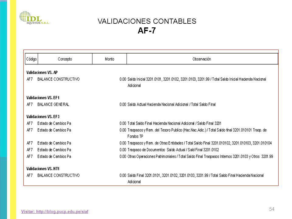 Visitar: http://blog.pucp.edu.pe/siaf VALIDACIONES CONTABLES AF-7 54