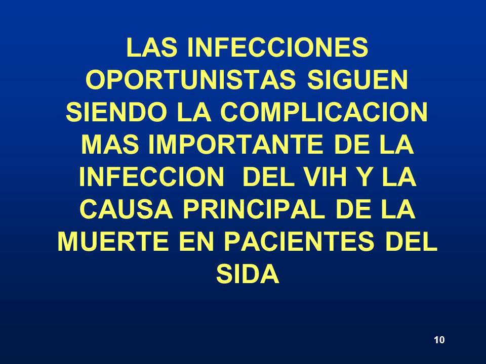 10 LAS INFECCIONES OPORTUNISTAS SIGUEN SIENDO LA COMPLICACION MAS IMPORTANTE DE LA INFECCION DEL VIH Y LA CAUSA PRINCIPAL DE LA MUERTE EN PACIENTES DE