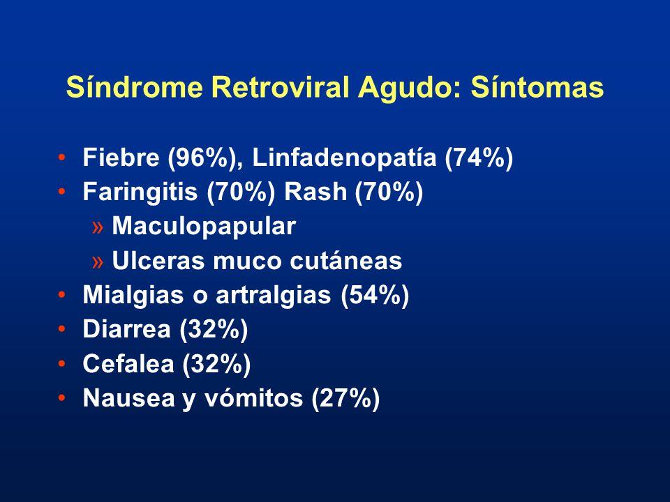 Síndrome Retroviral Agudo: Síntomas Fiebre (96%), Linfadenopatía (74%) Faringitis (70%) Rash (70%) »Maculopapular »Ulceras muco cutáneas Mialgias o ar