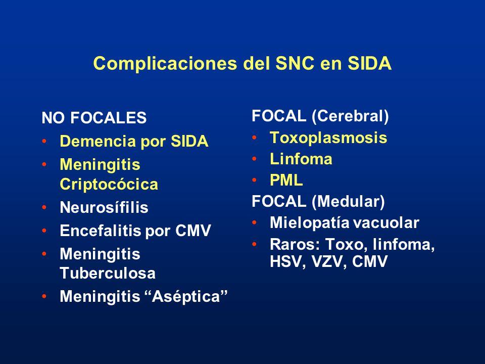 Complicaciones del SNC en SIDA NO FOCALES Demencia por SIDA Meningitis Criptocócica Neurosífilis Encefalitis por CMV Meningitis Tuberculosa Meningitis