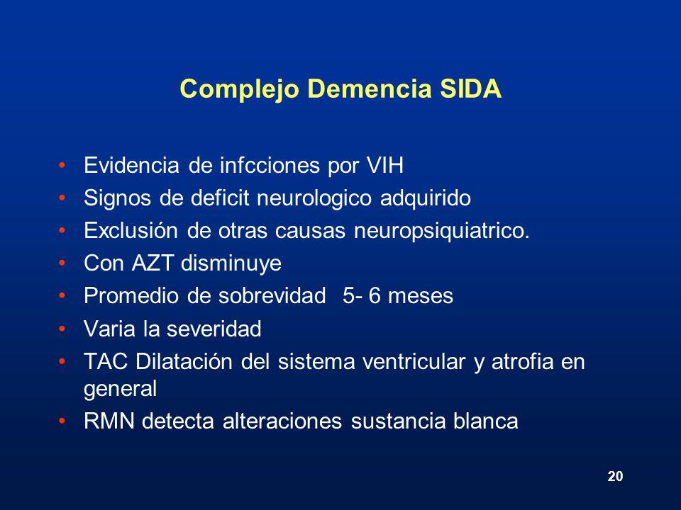 20 Complejo Demencia SIDA Evidencia de infcciones por VIH Signos de deficit neurologico adquirido Exclusión de otras causas neuropsiquiatrico. Con AZT
