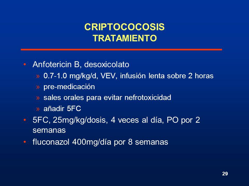 29 CRIPTOCOCOSIS TRATAMIENTO Anfotericin B, desoxicolato »0.7-1.0 mg/kg/d, VEV, infusión lenta sobre 2 horas »pre-medicación »sales orales para evitar