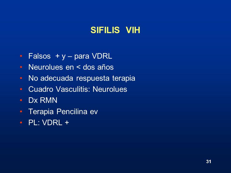 31 SIFILIS VIH Falsos + y – para VDRL Neurolues en < dos años No adecuada respuesta terapia Cuadro Vasculitis: Neurolues Dx RMN Terapia Pencilina ev P