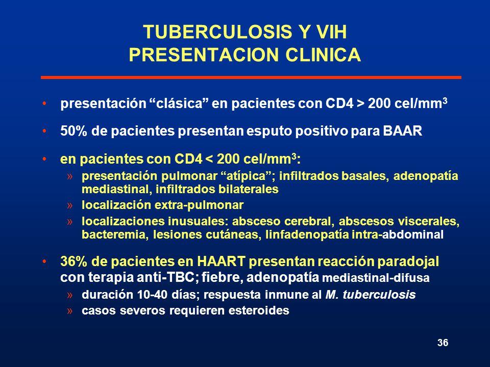 36 TUBERCULOSIS Y VIH PRESENTACION CLINICA presentación clásica en pacientes con CD4 > 200 cel/mm 3 50% de pacientes presentan esputo positivo para BA