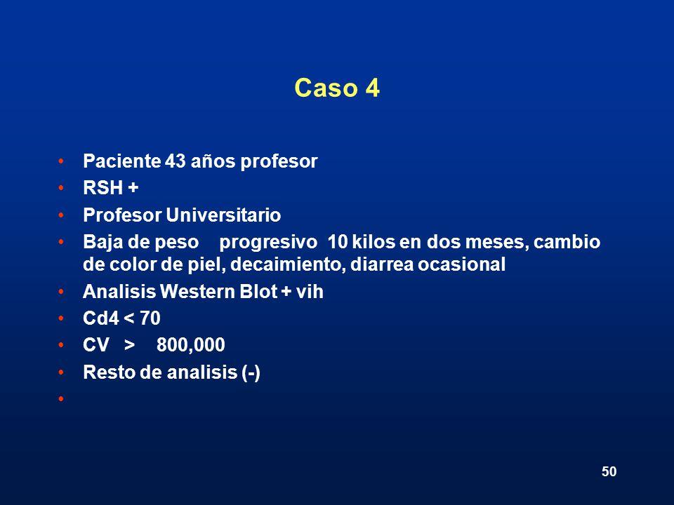 50 Caso 4 Paciente 43 años profesor RSH + Profesor Universitario Baja de peso progresivo 10 kilos en dos meses, cambio de color de piel, decaimiento,