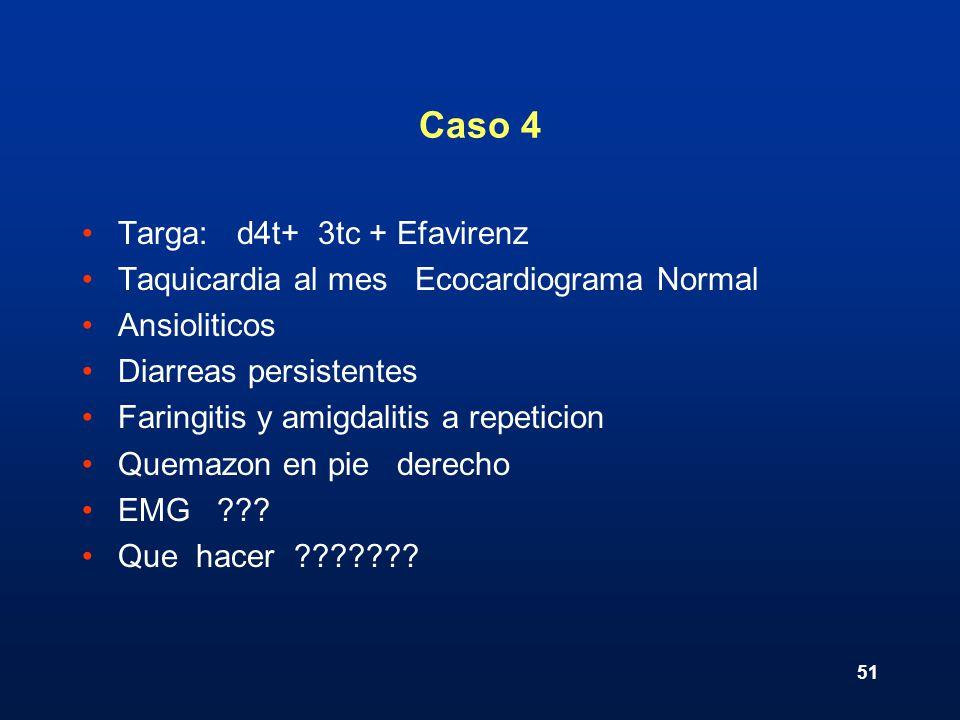 51 Caso 4 Targa: d4t+ 3tc + Efavirenz Taquicardia al mes Ecocardiograma Normal Ansioliticos Diarreas persistentes Faringitis y amigdalitis a repeticio