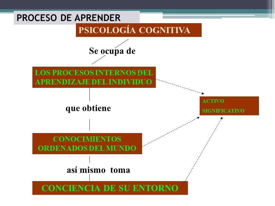 PROCESO DE APRENDER PSICOLOGÍA COGNITIVA LOS PROCESOS INTERNOS DEL APRENDIZAJE DEL INDIVIDUO Se ocupa de que obtiene CONOCIMIENTOS ORDENADOS DEL MUNDO