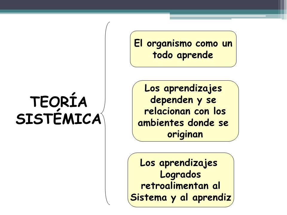 TEORÍA SISTÉMICA El organismo como un todo aprende Los aprendizajes dependen y se relacionan con los ambientes donde se originan Los aprendizajes Logr