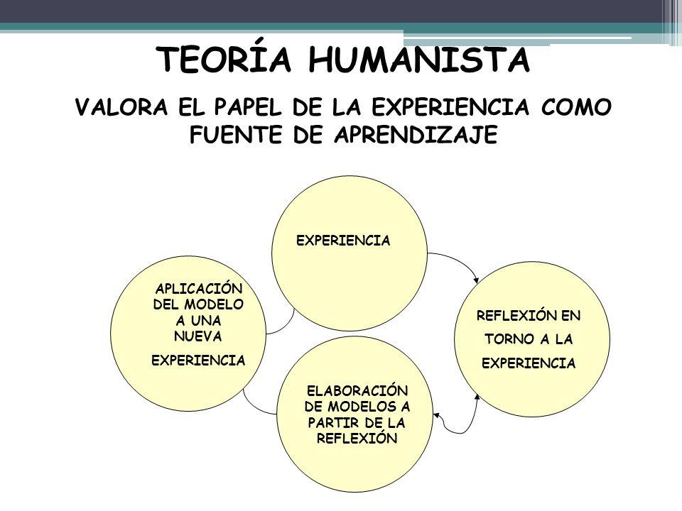 TEORÍA HUMANISTA VALORA EL PAPEL DE LA EXPERIENCIA COMO FUENTE DE APRENDIZAJE EXPERIENCIA REFLEXIÓN EN TORNO A LA EXPERIENCIA ELABORACIÓN DE MODELOS A