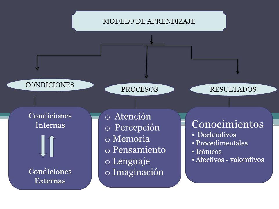 Condiciones Internas Condiciones Externas o Atención o Percepción o Memoria o Pensamiento o Lenguaje o Imaginación Conocimientos Declarativos Procedim