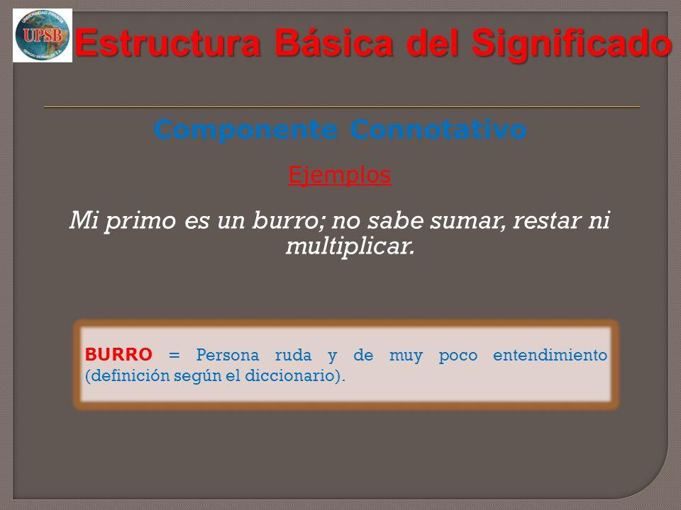 Estructura Básica del Significado Componente Connotativo Ejemplos Mi primo es un burro; no sabe sumar, restar ni multiplicar. BURRO = Persona ruda y d