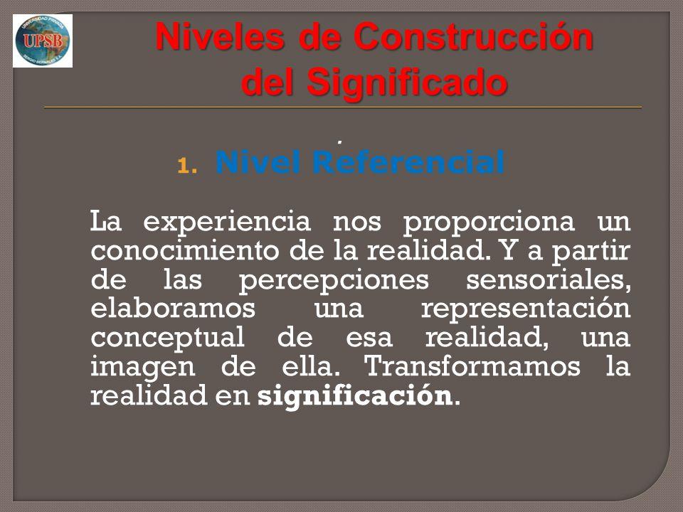 Niveles de Construcción del Significado. 1. Nivel Referencial La experiencia nos proporciona un conocimiento de la realidad. Y a partir de las percepc