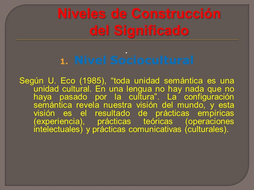 Niveles de Construcción del Significado. 1. Nivel Sociocultural Según U. Eco (1985), toda unidad semántica es una unidad cultural. En una lengua no ha