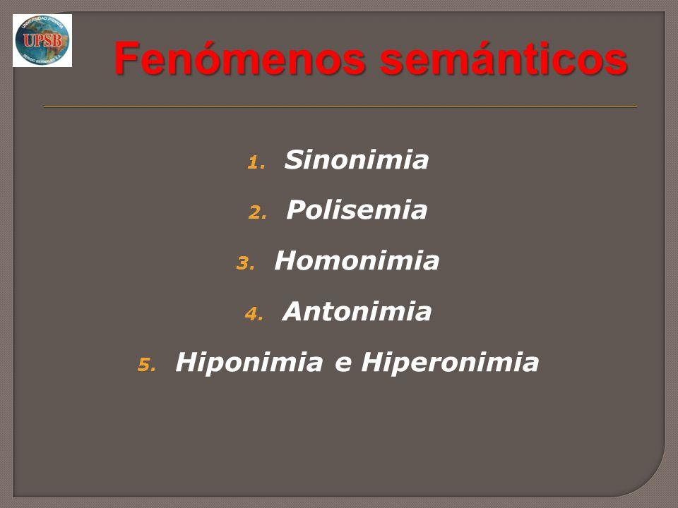 Fenómenos semánticos 1. Sinonimia 2. Polisemia 3. Homonimia 4. Antonimia 5. Hiponimia e Hiperonimia