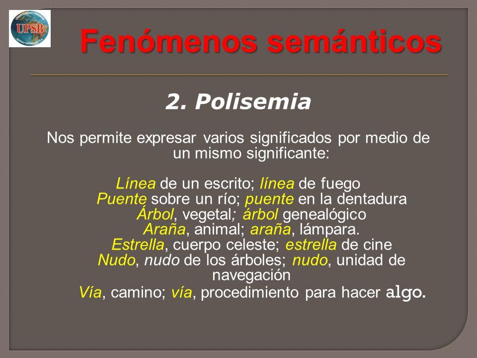 Fenómenos semánticos 2. Polisemia Nos permite expresar varios significados por medio de un mismo significante: Línea de un escrito; línea de fuego Pue