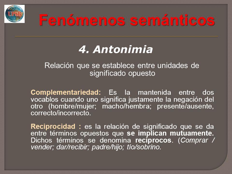 Fenómenos semánticos 4. Antonimia Relación que se establece entre unidades de significado opuesto Complementariedad: Es la mantenida entre dos vocablo