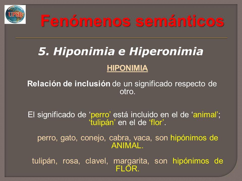 Fenómenos semánticos 5. Hiponimia e Hiperonimia HIPONIMIA Relación de inclusión de un significado respecto de otro. El significado de perro está inclu