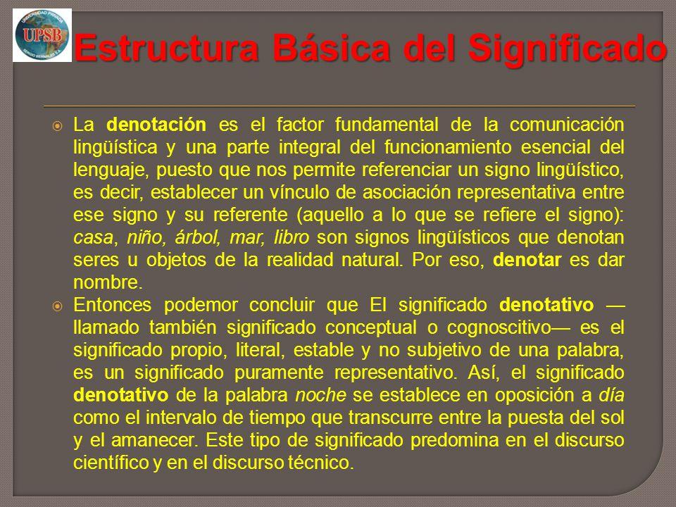 Estructura Básica del Significado La denotación es el factor fundamental de la comunicación lingüística y una parte integral del funcionamiento esenci