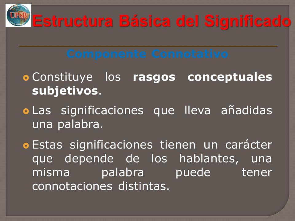 Estructura Básica del Significado Componente Connotativo Constituye los rasgos conceptuales subjetivos. Las significaciones que lleva añadidas una pal