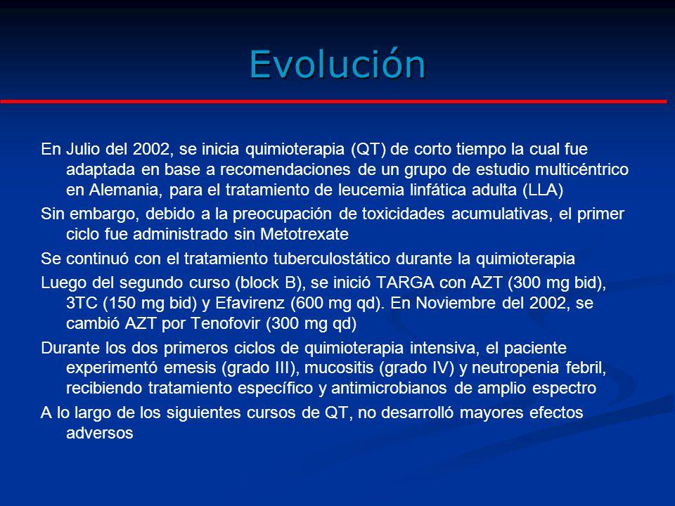 Evolución En Diciembre del 2002, la TAC mostró remisión completa de las manifestaciones del linfoma de Burkitt así como de la infiltración tuberculosa El cultivo de BK en esputo y orina fue negativo (3 veces) El conteo celular CD4 fue de 290 céls/mL (12% de linfocitos totales, índice CD4/CD8=0.2) y la carga viral VIH-RNA <50 copias/mL Debido a esta excelente respuesta, se decidió suspender la QT luego del 5to ciclo (de los 6 programados) como una leve modificación del protocolo de tratamiento El tratamiento de TB fue suspendido en Febrero del 2003 Luego del último curso de QT, el paciente permaneció en remisión completa En Diciembre del 2003 el CD4 fue 230 céls/mL (16% de linfocitos totales, índice CD4/CD8=0.3) y la carga viral VIH-RNA <50 copias/mL