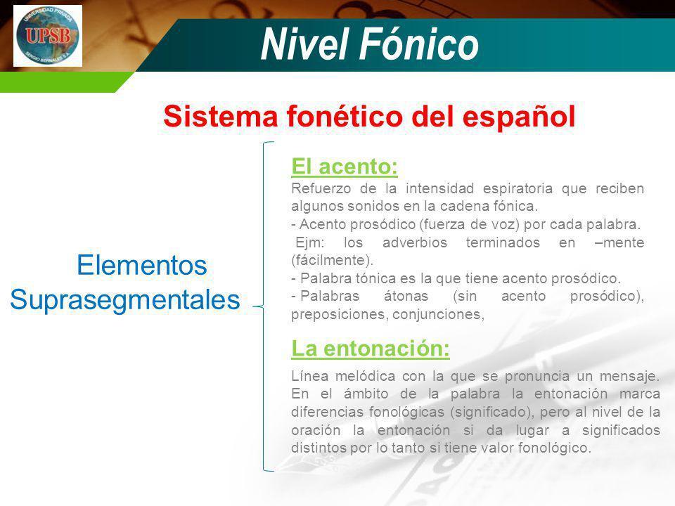 Nivel Fónico Sistema fonético del español Elementos Suprasegmentales El acento: La entonación: Refuerzo de la intensidad espiratoria que reciben algun