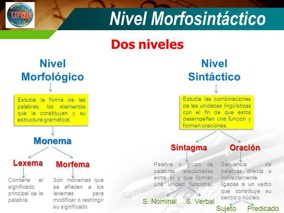 Nivel Morfosintáctico Dos niveles Nivel Morfológico Nivel Sintáctico Estudia la forma de las palabras, los elementos que la constituyen y su estructur