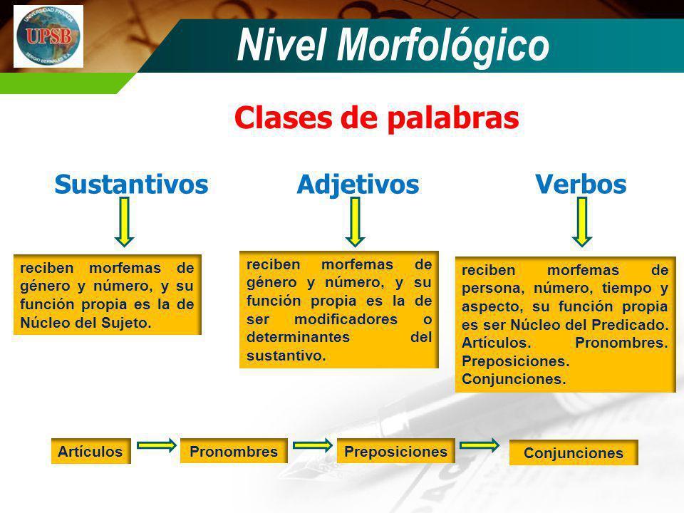 Nivel Morfológico Clases de palabras SustantivosAdjetivos Verbos reciben morfemas de género y número, y su función propia es la de Núcleo del Sujeto.
