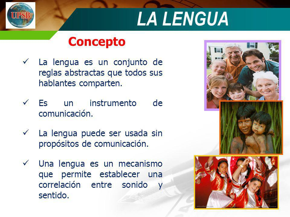 Concepto La lengua es un conjunto de reglas abstractas que todos sus hablantes comparten. Es un instrumento de comunicación. La lengua puede ser usada
