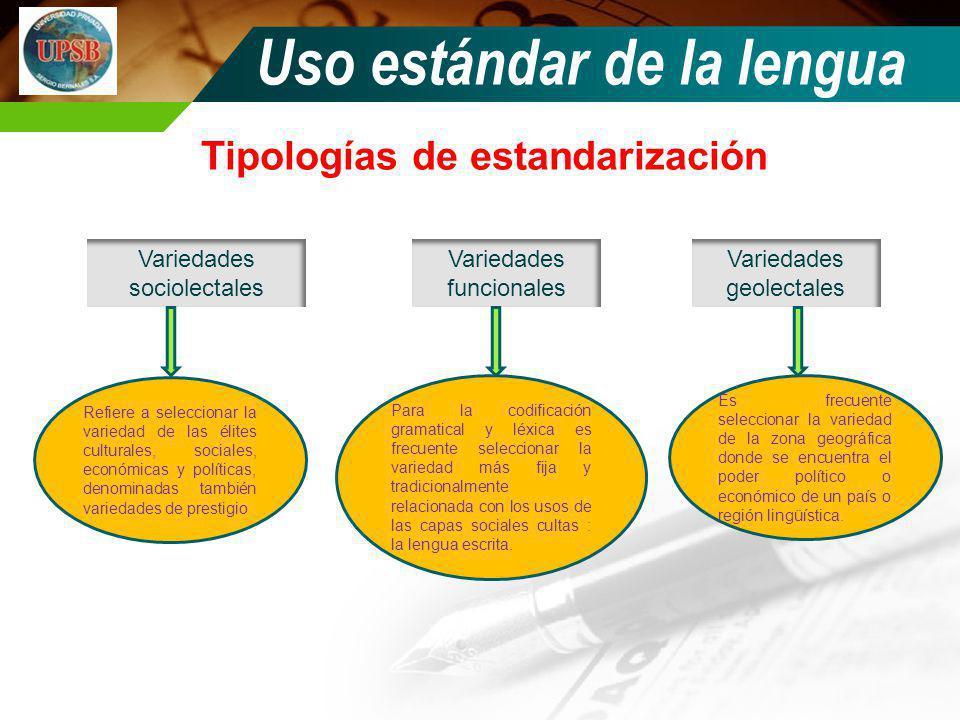 Tipologías de estandarización Uso estándar de la lengua Variedades geolectales Variedades sociolectales Variedades funcionales Refiere a seleccionar l