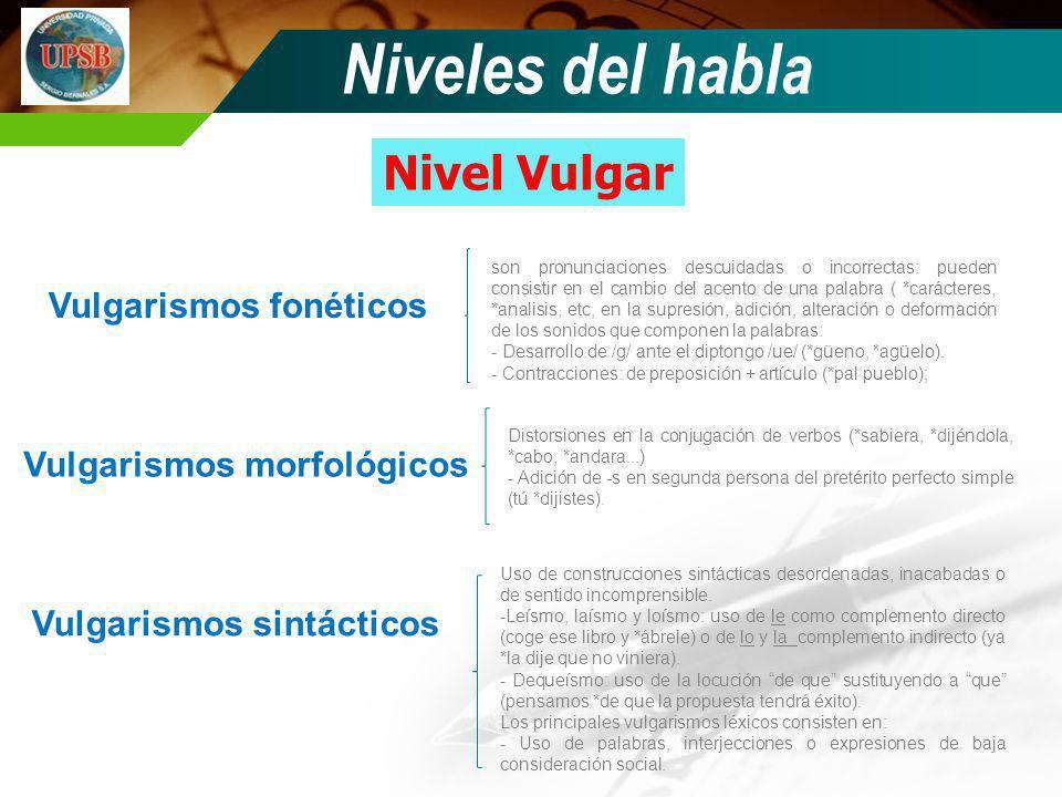Niveles del habla Nivel Vulgar Vulgarismos fonéticos Vulgarismos morfológicos Vulgarismos sintácticos son pronunciaciones descuidadas o incorrectas: p