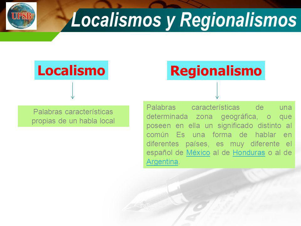 Localismos y Regionalismos Localismo Regionalismo Palabras características de una determinada zona geográfica, o que poseen en ella un significado dis