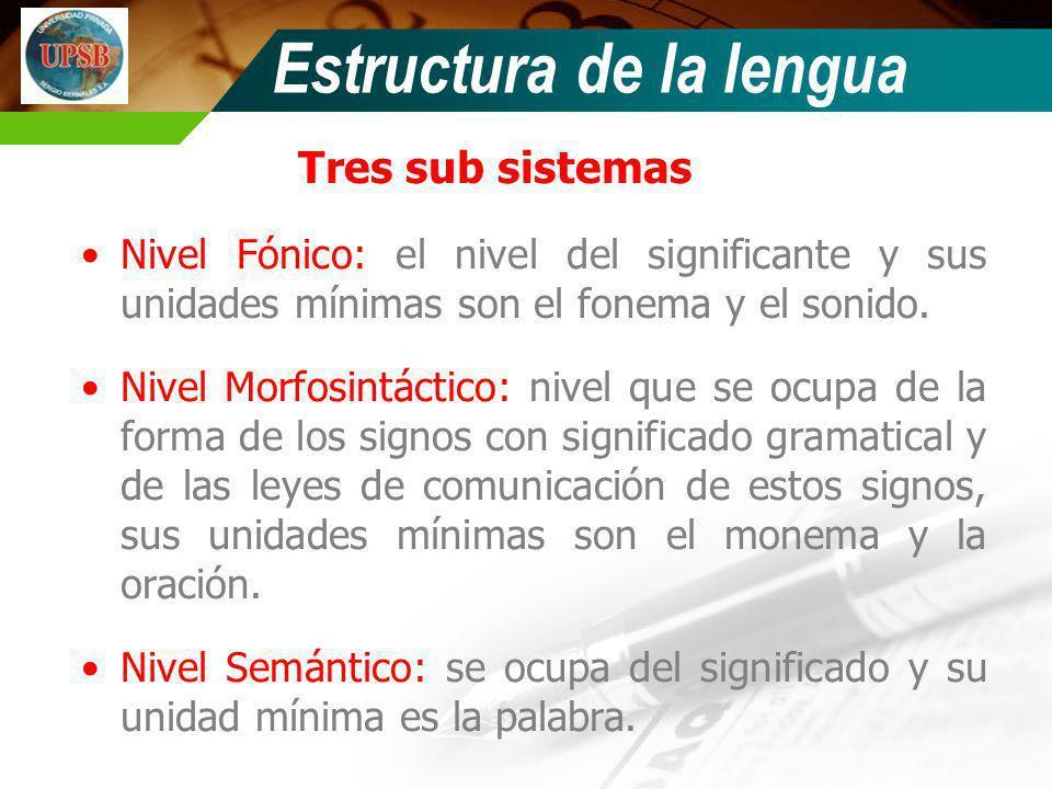 Tres sub sistemas Nivel Fónico: el nivel del significante y sus unidades mínimas son el fonema y el sonido. Nivel Morfosintáctico: nivel que se ocupa