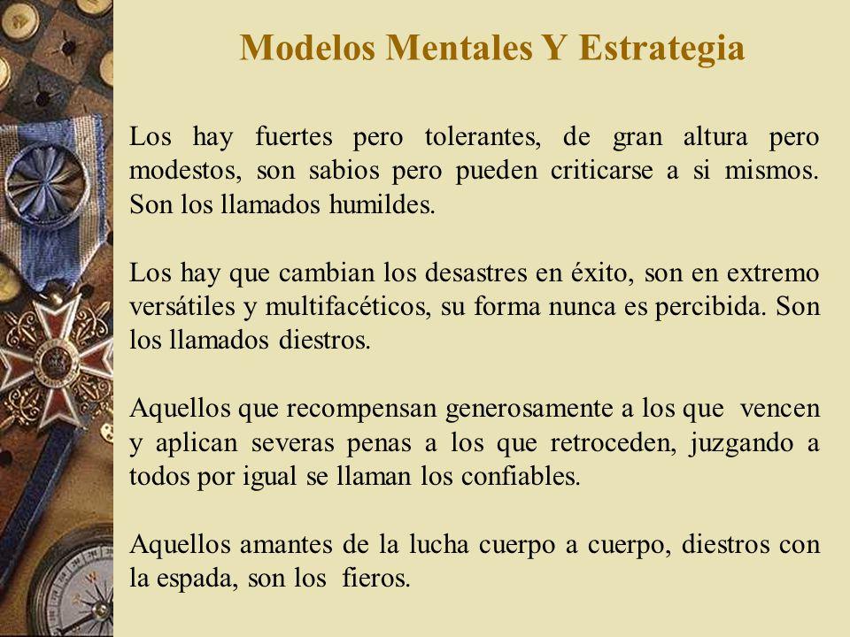 Modelos Mentales Y Estrategia Existen nueve tipos de dirigentes : El guiado por la virtud, trata a todos con el mismo cuidado, sabe cuando el ejército