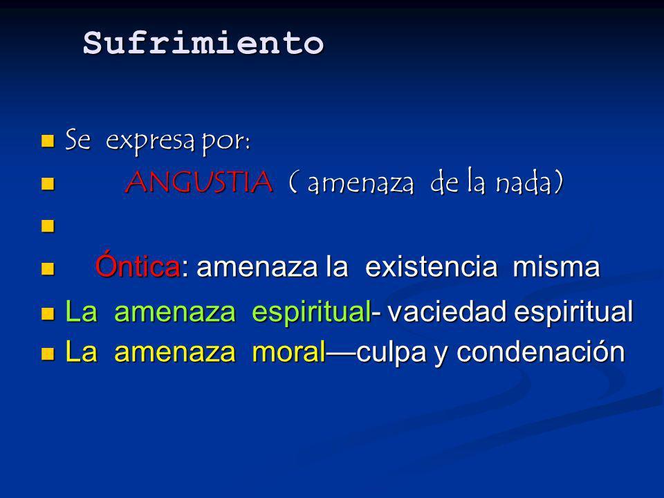 Sufrimiento Se expresa por: Se expresa por: ANGUSTIA ( amenaza de la nada) ANGUSTIA ( amenaza de la nada) Óntica: amenaza la existencia misma Óntica: