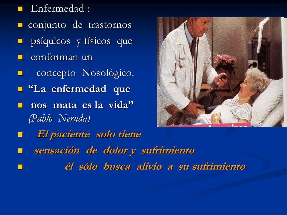Enfermedad : Enfermedad : conjunto de trastornos conjunto de trastornos psíquicos y físicos que psíquicos y físicos que conforman un conforman un conc