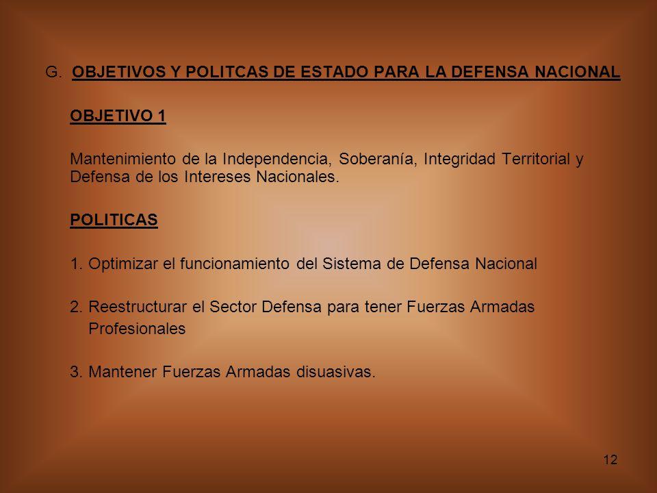 12 G. OBJETIVOS Y POLITCAS DE ESTADO PARA LA DEFENSA NACIONAL OBJETIVO 1 Mantenimiento de la Independencia, Soberanía, Integridad Territorial y Defens