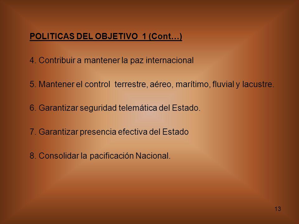 13 POLITICAS DEL OBJETIVO 1 (Cont…) 4. Contribuir a mantener la paz internacional 5. Mantener el control terrestre, aéreo, marítimo, fluvial y lacustr