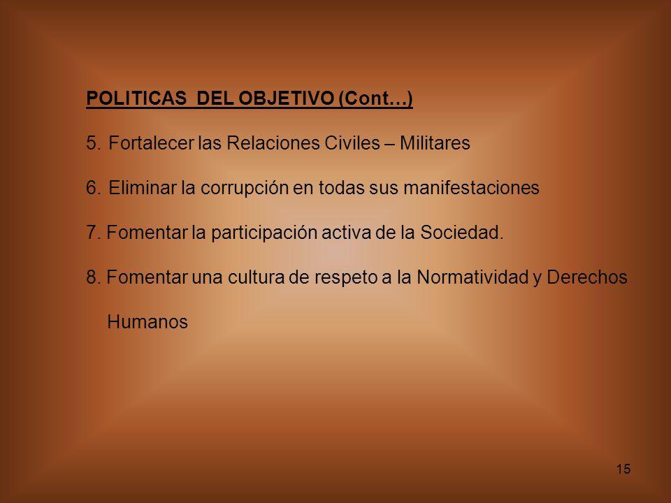 15 POLITICAS DEL OBJETIVO (Cont…) 5. Fortalecer las Relaciones Civiles – Militares 6. Eliminar la corrupción en todas sus manifestaciones 7. Fomentar