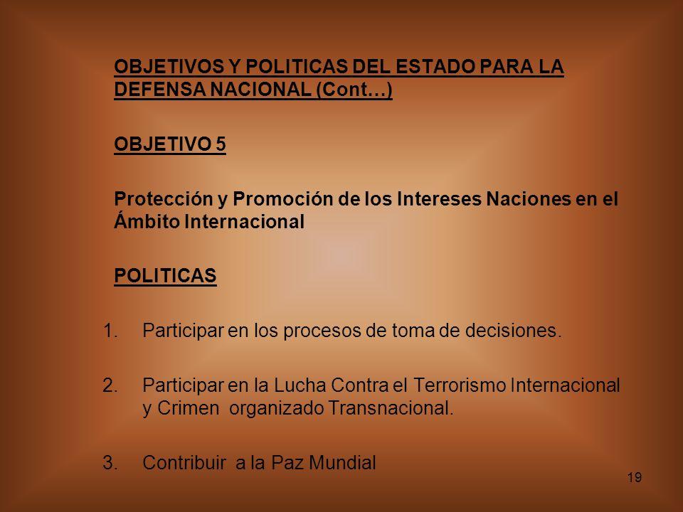 19 OBJETIVOS Y POLITICAS DEL ESTADO PARA LA DEFENSA NACIONAL (Cont…) OBJETIVO 5 Protección y Promoción de los Intereses Naciones en el Ámbito Internacional POLITICAS 1.Participar en los procesos de toma de decisiones.