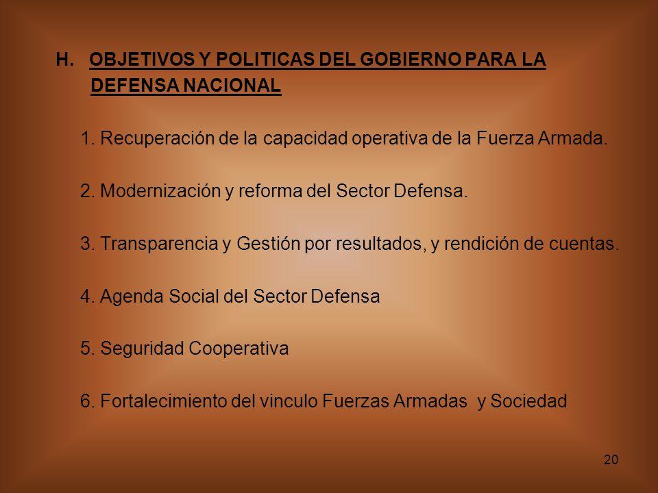 20 H.OBJETIVOS Y POLITICAS DEL GOBIERNO PARA LA DEFENSA NACIONAL 1.